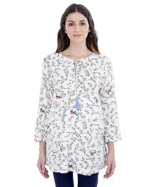 Oxolloxo Maternity Tropical Tie-Up Tunic Floral Print - White