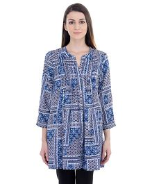 Oxolloxo Maternity Floral Pleated Tunic - Blue