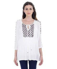 Oxolloxo Long Sleeves Embroidered Tunic - White