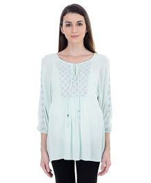 Oxolloxo Long Sleeves Embroidered Tunic - Light Green