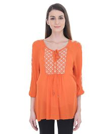 Oxolloxo Long Sleeves Embroidered Tunic - Orange