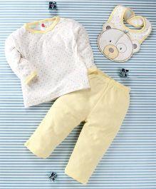 Pretty Kibo Star & Bear Face Print 3 Piece Baby Set -  Yellow