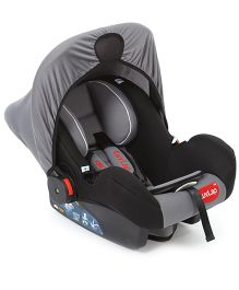 LuvLap Infant Baby Car Seat Cum Carry Cot And Rocker With Canopy Grey Black