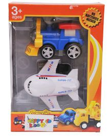 Happykids Powerful Pull Back Friction Toys - Blue White