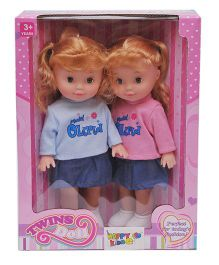 Happykids Twin Baby Dolls Blue Pink - 24 cm