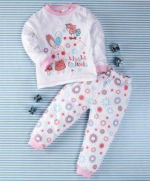 Pretty Kibo Little Friends Print Tee & Pant Set -  White & Pink