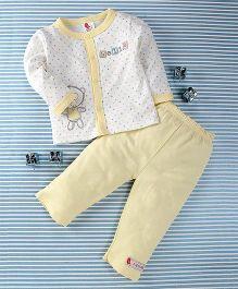 Pretty Kibo Bear Print 2 Piece Shirt & Pant Set -  White & Yellow
