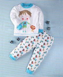 Pretty Kibo Boy Print 2 Piece Tee & Pant Set -  White & Blue