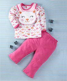 Pretty Kibo Cat Face Print 3 Piece Set -  White & Pink