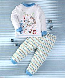 Pretty Kibo Monkey Print 2 Piece Tee & Pant Set -  White & Multicolour