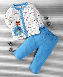 Pretty Kibo Animals Print 2 Piece Shirt & Pant Set -  White & Blue
