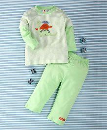 Pretty Kibo Stripes Print 2 Piece Tee & Pant Set -  Light Green