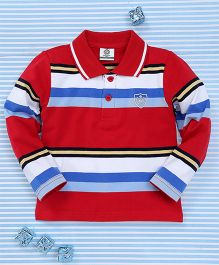Water Melon Stripe Print Collar Neck T-Shirt - Red