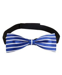 Needybee Stripes Printed Pre Tied Party Bow Tie - White Blue