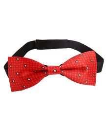 Needybee Checkered Printed Pre Tied Party Wear Bow Tie - Red And White