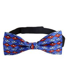 Needybee Diamond Printed Pre Tied Party Wear Bow Tie - Blue Red White