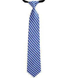 Needybee Stripes Printed Pre Tied Party Wear Tie - Blue White