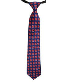 Needybee Printed Pre Tied Blue Party Wear Tie - Red Blue