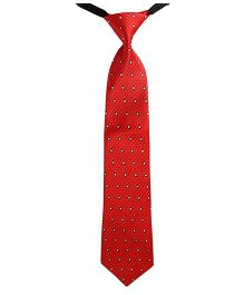 Needybee Check Box Printed Pre Tied Party Wear Tie - Red White