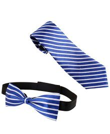 Needybee Stripes Printed Pre Tied Party Wear Neck And Bow Tie Set Pack Of 2 - Blue White