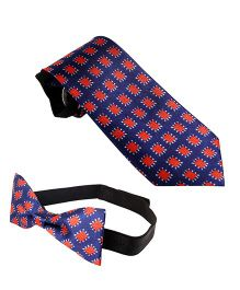 Needybee Printed Pre Tied Party Wear Neck And Bow Tie Set Pack Of 2 - Blue Red