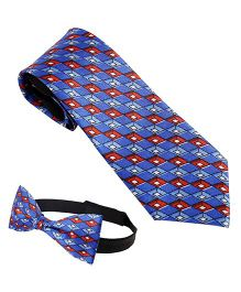 Needybee Diamond Printed Pre Tied Party Wear Neck And Bow Tie Set Pack Of 2 - Blue Red White