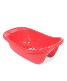 Baby Bath Tub With Drainer - Red