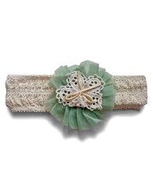 Aakriti Creations Flower On Crotia Headband - Light Green
