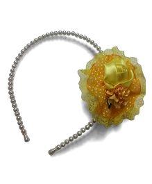 Aakriti CreationsRose On Pearl Hair Band - Yellow
