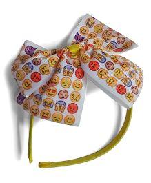 Aakriti Creations Smileys On The Bow Hair Band - Yellow