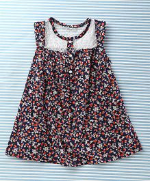 Mobichong Strawberry Print Dress - Navy Blue
