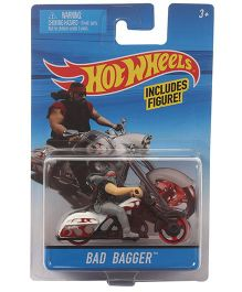 Hot Wheels Die Cast Bike Bad Bagger With Rider - White