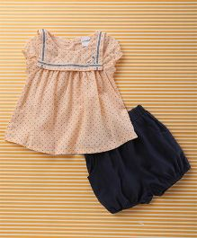 Mobichong Small Triangle Print Top & Shorts Set - Peach & Navy Blue