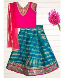 Shilpi Datta Som Shaded Lengha Choli - Fuchsia Pink & Blue