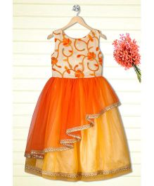 Shilpi Datta Som Layered Gown - Orange & Beige