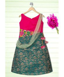 Shilpi Datta Som Ethnic Gown With Attached Dupatta - Pink & Pine Green