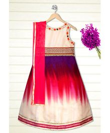 Shilpi Datta Som Triple Clour Shaded Ethnic Gown With Dupata - Purple & Pink