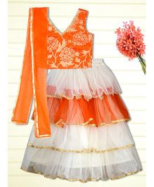 Shilpi Datta Som Frilly Lengha Choli - Orange & White