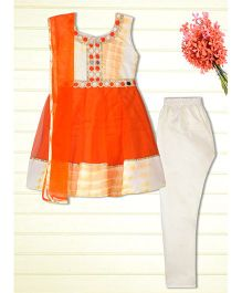 Shilpi Datta Som Tie N Die Printed Anarkali - Orange & White