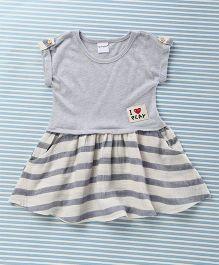 Mobichong Half-Sleeves Attractive Dress - Bluish Grey