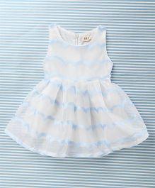 Fashion Collection Stylish Print Dress - White & Blue
