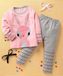 Huali Kids Rabbit & Dot Print Tee & Leggings - Pink & Grey