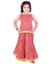 Bunchi Jaipuri Printed Cotton Top & Skirt Set - Pink & Yellow