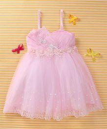 MFM Attractive Flower Design Party Dress - Pink