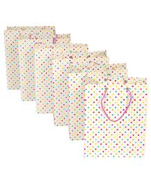 Papier Set Of 6 Dotty Gift Bags - Beige & Multicolour