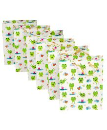 Papier Set Of 6 Froggie Gift Bags - White & Green