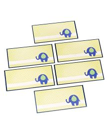 Papier Set Of 6 Elephant Envelopes - Yellow & Blue