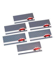 Papier Set Of 6 Car Envelopes - Blue Red & White