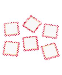 Papier Set Of 6 Checkered Gift Tags - Red