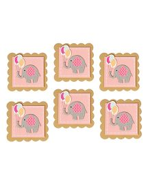 Papier Set Of 6 Elephant Gift Tags - Pink